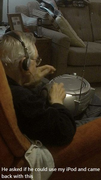 Music,ipod,old people,Grandpa