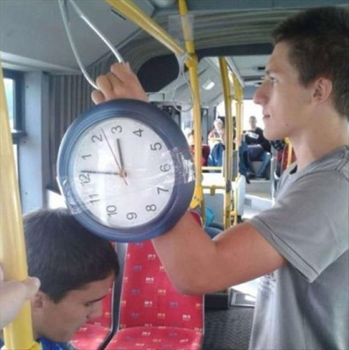 poorly dressed,watch,clock,bus,tape