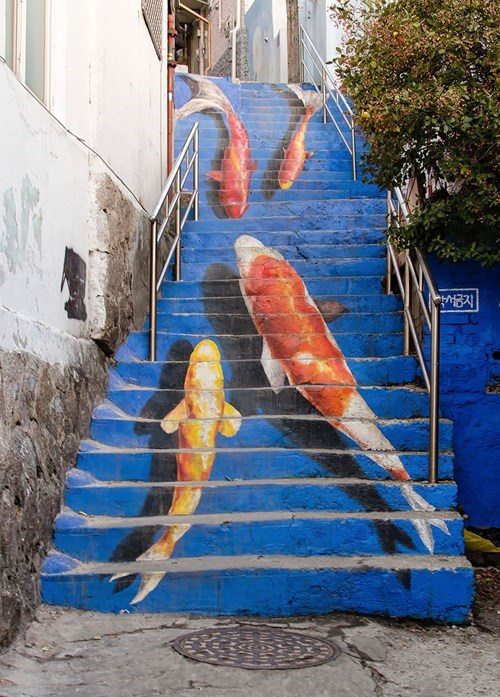 Street Art design stairs hacked irl - 8213784320