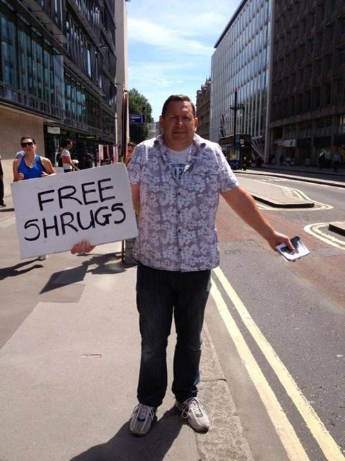 puns,free stuff,shrug