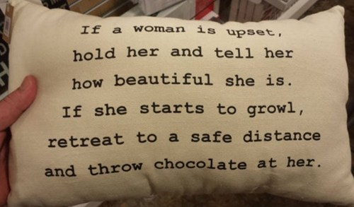 Pillow,growl,chocolate,funny,women,dating