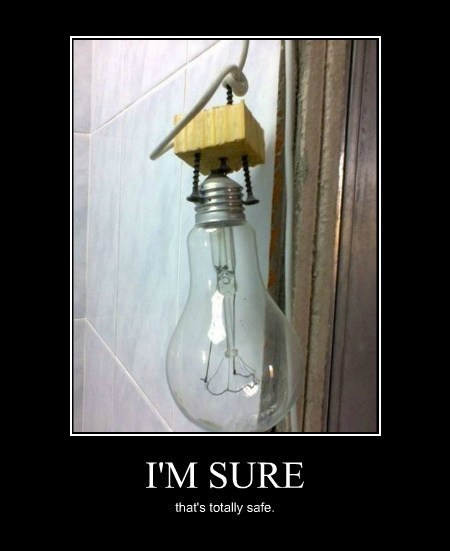 bad idea redneck electricity lightbulb funny - 8216359936