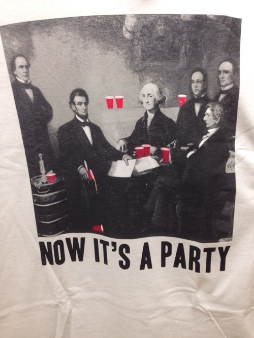 abraham lincoln,george washington,party hard,red cups