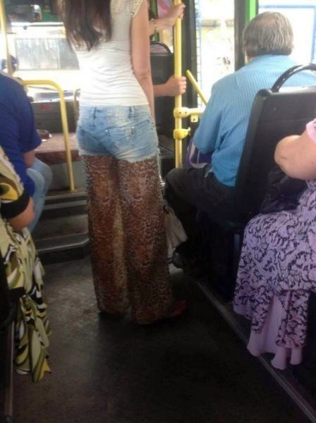jeans,poorly dressed,leopard print,bus