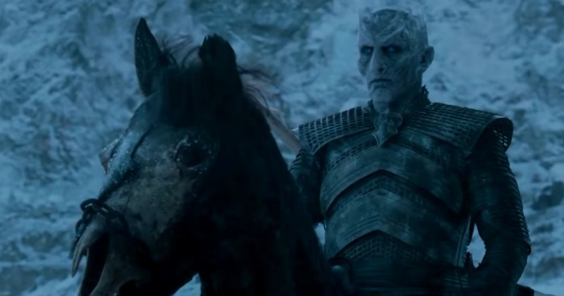 the night king from game of thrones riding a horse
