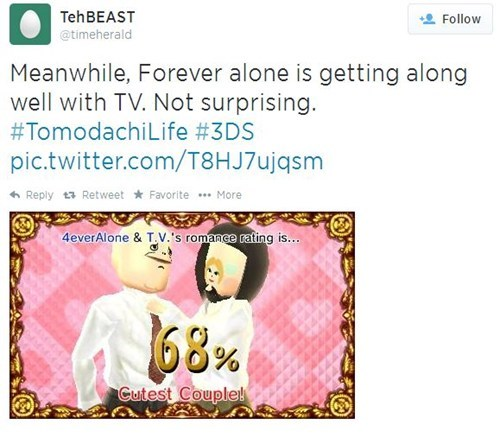 forever alone,twitter,tomodachi life