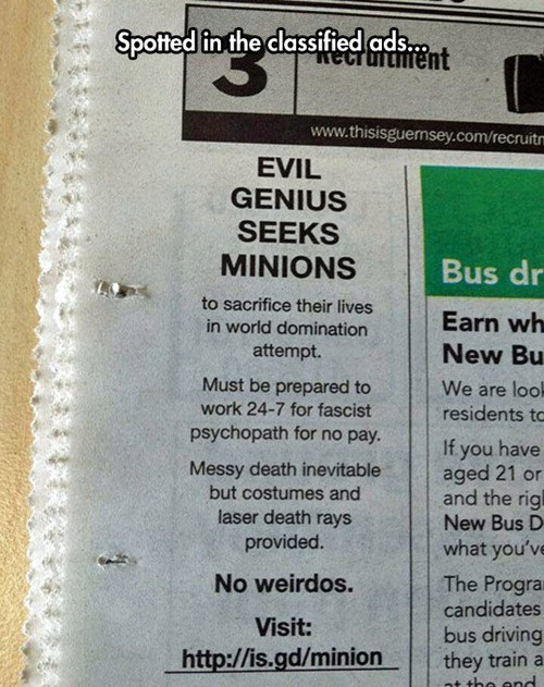 monday thru friday,minions,classified ad,g rated