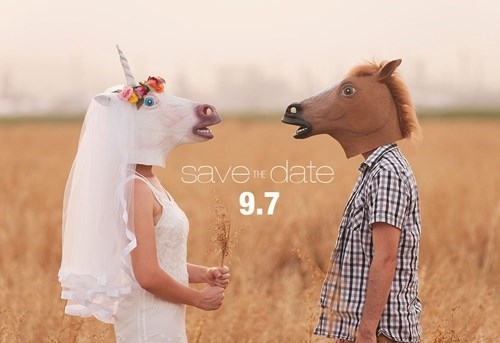 unicorn,poorly dressed,mask,save the date,horse mask,g rated
