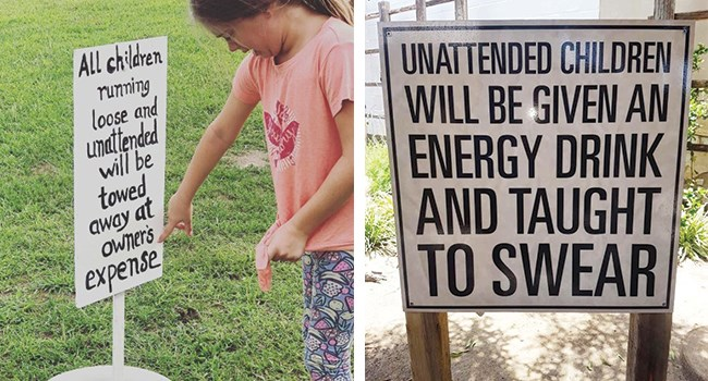 funny signs to the public about no leaving their kids unattended