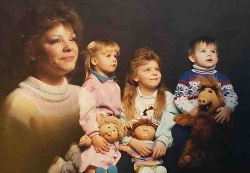 the eighties Alf toys Cabbage Patch Kids kids family photo parenting 80s