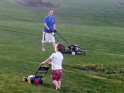 fathers day mowing the lawn parenting dad