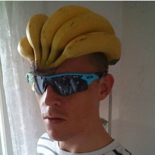 sunglasses,poorly dressed,helmet,banana,g rated