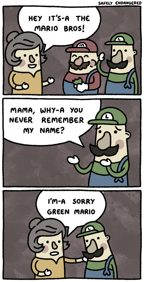 mario,luigi,web comics,safely endangered