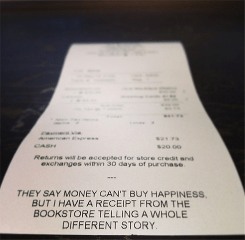 bookstore,monday thru friday,receipt,happiness,g rated