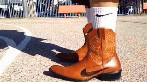 cowboy boots,boots,nike,poorly dressed,logo