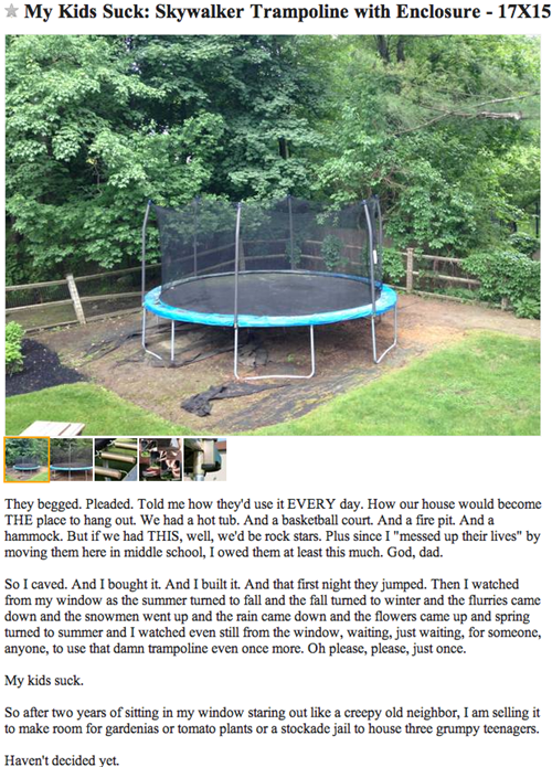 craigslist death trap for sale trampoline g rated win