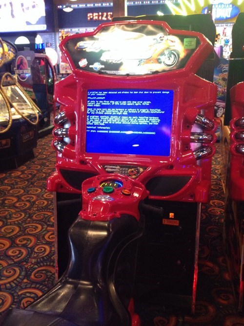 bsod,arcade,blue screen of death,motorcycle