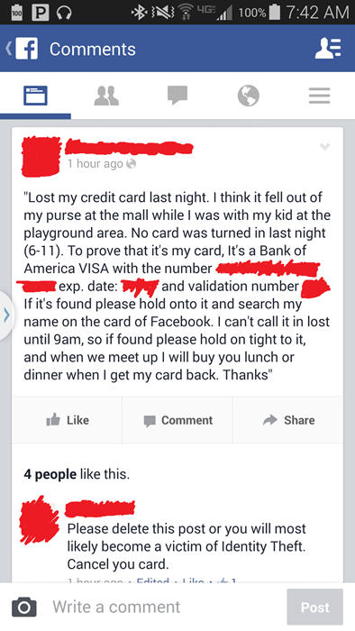 bad idea credit card facepalm identity theft
