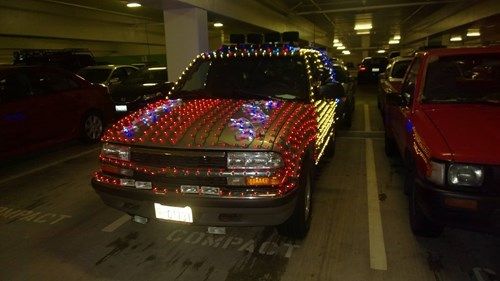 cars,christmas lights