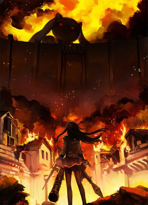 anime,crossover,Fan Art,Puella Magi Madoka Magica,attack on titan