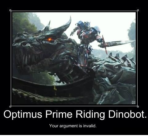 Optimus Prime Riding Dinobot.