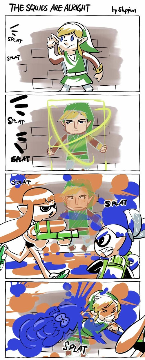 Fan Art,a link between worlds,splatoon