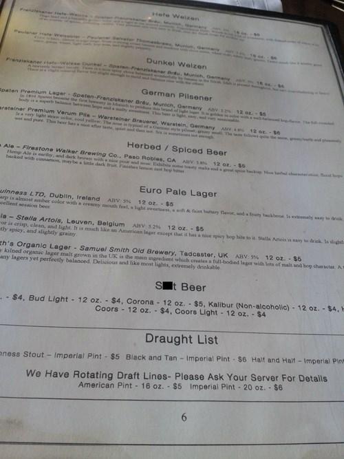 beer crap funny menu - 8223924736
