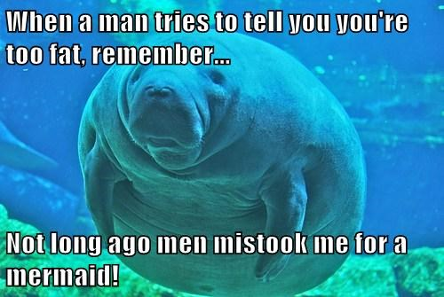 When a man tries to tell you you're too fat, remember... Not long ago men mistook me for a mermaid!