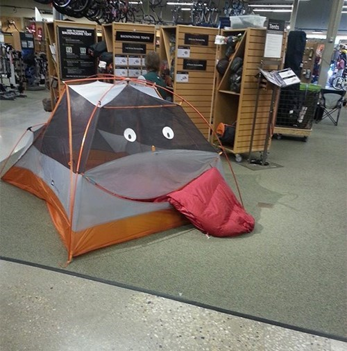 camping,monday thru friday,retail,tent,tongue out