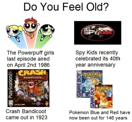 crash bandicoot,Pokémon,powerpuff girls,sad frog,spy kids,only 90s kids will get this