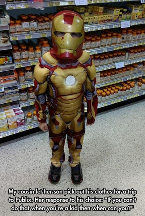 costume,clothes,grocery store,kids,iron man,parenting,g rated