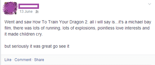 How to train your dragon,Michael Bay,nostalgia,failbook,g rated