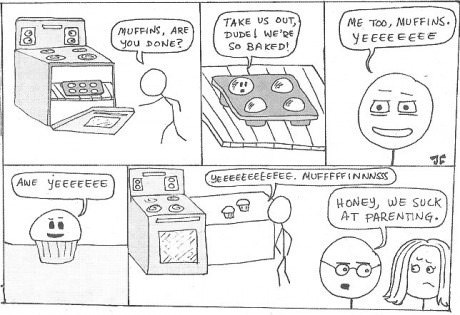 anthropomorphizing baked muffins parenting web comics