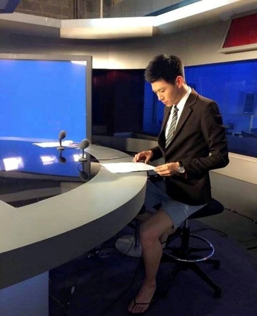 flip flops monday thru friday Local News news anchors shorts poorly dressed suit - 8226812672
