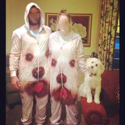 dogs matching onesie poorly dressed