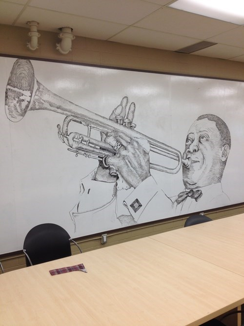 art,drawing,monday thru friday,win,louis armstrong,whiteboard