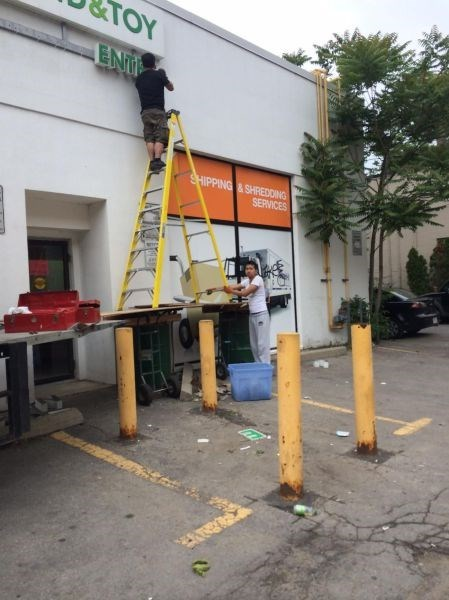 ladder,monday thru friday,sign,safety first