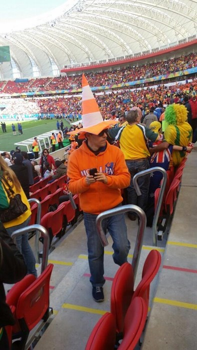 hat,poorly dressed,traffic cone,world cup