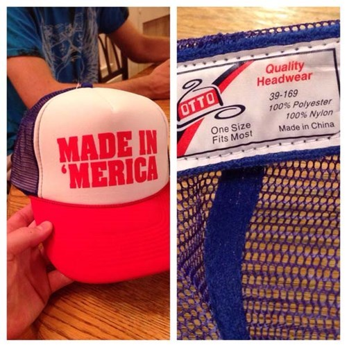 america,hat,label,poorly dressed,tag