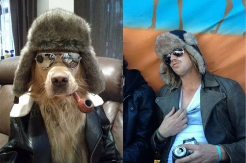dogs,hat,hipster,pipe,who wore it better,poorly dressed,sunglasses