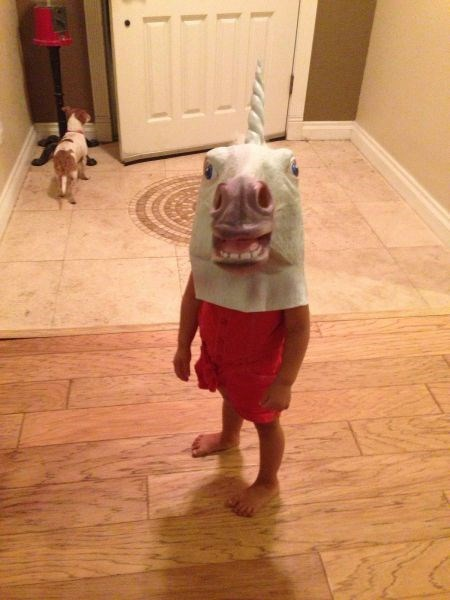 kids,mask,unicorn,parenting,poorly dressed,unicorn mask