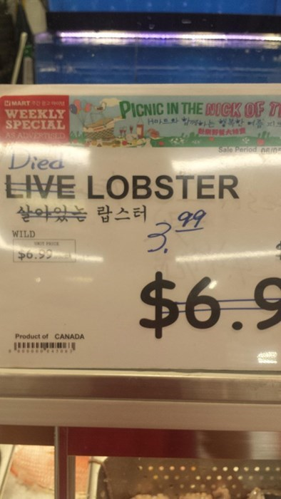 grocery store,lobster,price,monday thru friday,sign,g rated