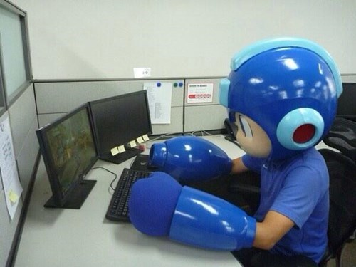 IRL,mega man,dress for the job you want,nintendo,super smash bros