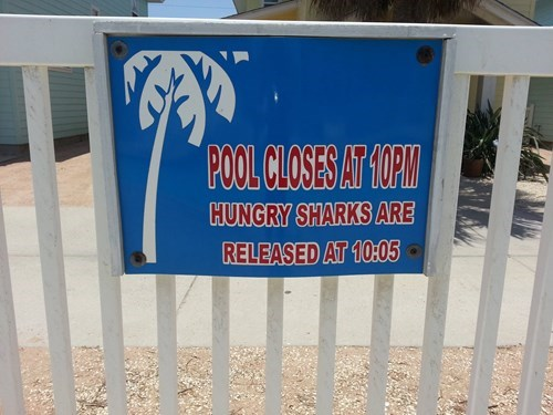 warning sign summer swimming pool