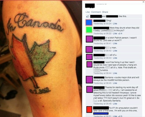 Canada,tattoo,Ugliest Tattoos,burn