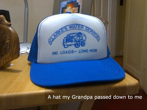 Grandpa,trucker hat,poorly dressed