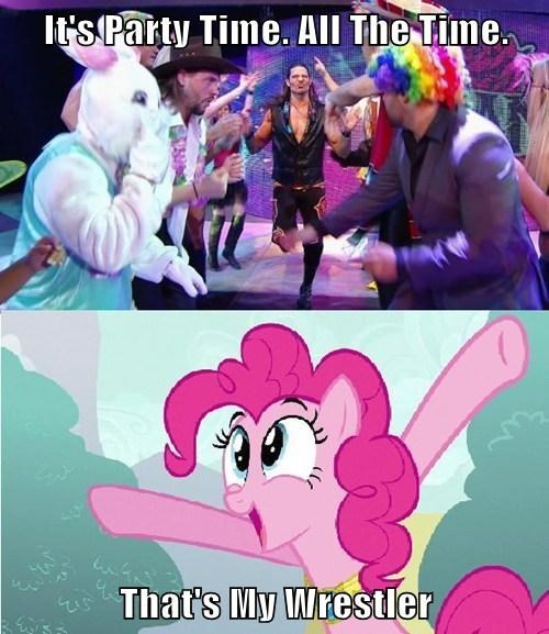 pinkie pie,party time,wrestling