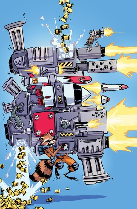 Rocket Raccoon Uses Only The Best Firearms Around