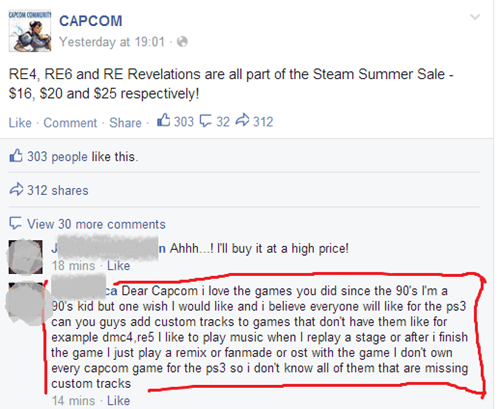 comments,capcom,facebook,fans