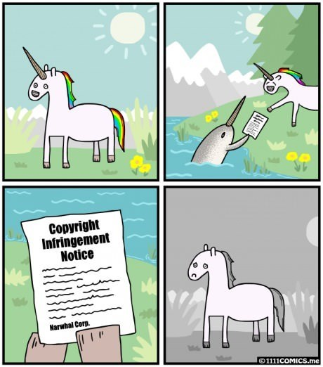 Copyright Infringement narwhals unicorns web comics
